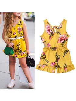Summer Toddler Baby Kids Girls Sleeveless V-Neck Floral Romper Bodysuit Jumpsuit Outfits Clothes