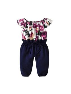One-Piece Toddler Kids Baby Girls Floral Clothes Jumpsuit Romper Bodysuit Playsuit For 1-2 Years