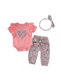 Bavy Summer Baby Girls Short Sleeve Romper +Floral Trousers Suits with Headband Sets