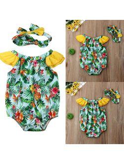 Newborn Infant Baby Girl Flower Printed Romper Bodysuit Jumpsuit Headband Outfit