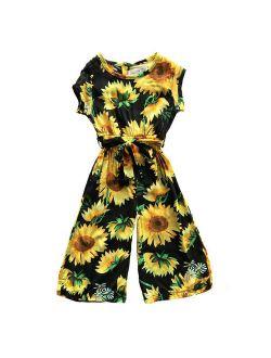 Toddler Kids Baby Girls clothes Sunflower Print zipper short sleeve Romper cotton casual newborn round neck Jumpsuit one pieces