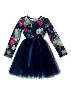 Designer Kidz Girls Navy Floral Butterfly Print Stella Tutu Dress