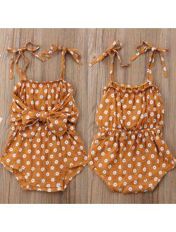 Toddler Newborn Baby Girl Summer Strap Bowknot Floral Romper Bodysuit Jumpsuit Outfit Sunsuit