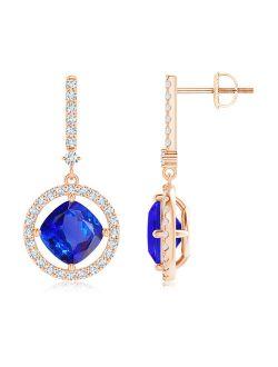Floating Cushion Tanzanite and Diamond Halo Drop Earrings in 14K Rose Gold (7mm Tanzanite) - SE1055TD-RG-AAA-7