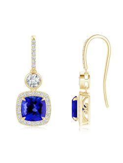 Fish-Hook Cushion Tanzanite Dangle Earrings with Diamonds in 18K Yellow Gold (7mm Tanzanite) - SE0985TD-YGE-AAAA-7
