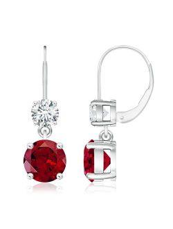 Round Garnet Leverback Dangle Earrings with Diamond in 14K White Gold (8mm Garnet) - SE0920G-WG-AAAA-8