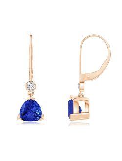 V Prong-Set Trillion Tanzanite Leverback Drop Earrings in 14K Rose Gold (7mm Tanzanite) - SE1001TD-RG-AAA-7