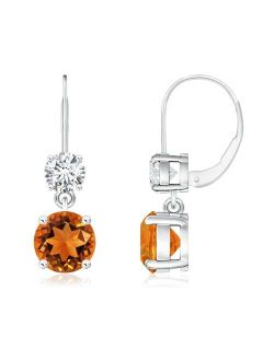 Round Citrine Leverback Dangle Earrings with Diamond in 14K White Gold (6mm Citrine) - SE0920CT-WG-AAAA-6
