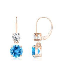 Round Swiss Blue Topaz Leverback Dangle Earrings in 14K Rose Gold (6mm Swiss Blue Topaz) - SE0920SBTD-RG-AAA-6
