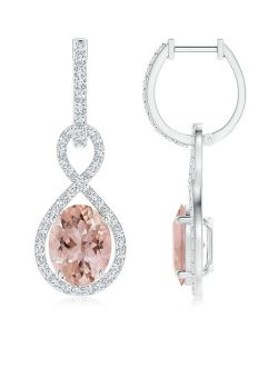 Floating Morganite Infinity Drop Earrings with Diamond Accents in 950 Platinum (9x7mm Morganite) - SE1338MGD-PT-AAA-9x7