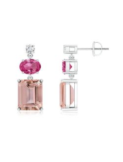 Morganite, Pink Sapphire and Diamond Dangle Earrings in 950 Platinum (9x7mm Morganite) - SE0968MGPSD-PT-AAAA-9x7