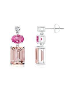 Morganite, Pink Sapphire and Diamond Dangle Earrings in 950 Platinum (9x7mm Morganite) - SE0968MGPSD-PT-AAA-9x7