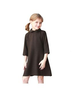 A.Bird Girls Brown Flat Patterned Pointed Collar Stylish Mary Dress