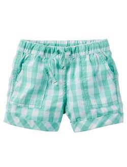 Carters Toddler Clothing Outfit Little Girls Pull-On Gingham Poplin Shorts Turquoise