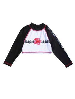 Little Girls Pink Black Floral Chevron Stripe Hula Girl Rash Guard 4/5