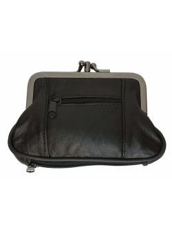 Genuine Leather Change Purse with Zipper Bottom Compartment Y062 (C)