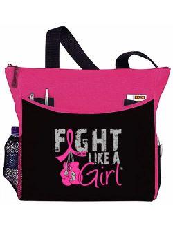 Fight Like a Girl Breast Cancer Tote Bag - Dakota, Hot Pink Ribbon