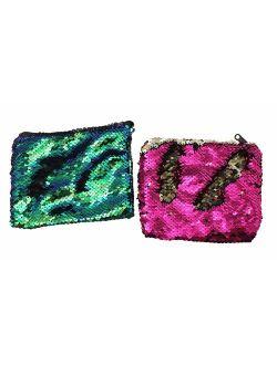 Lot of 2 Mermaid 2-Color Reversible Sequin Bag - Sensory Fidget Toy Pouch Purse
