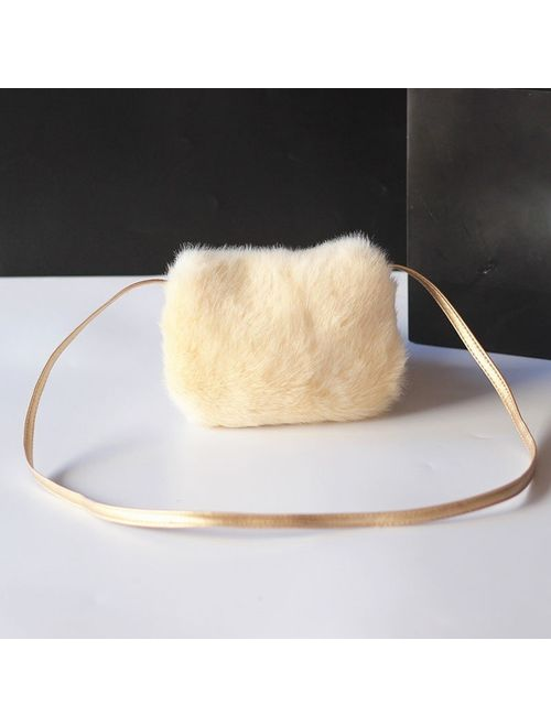Fashion Girls Kids Purse Bowknot Mini Artificial Fur Handbags Cross Body Comfortable Cute Handbag