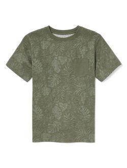 Short Sleeve Leaf Print Pocket T-shirt (big Boys)