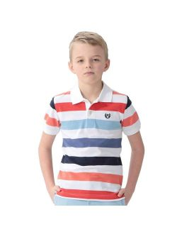 Leo&Lily Boys' Kids' Cotton Pique Stripe Polo Shirts T-Shirts