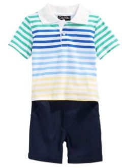 Only Kids Infant Boy 2 Piece Colorful Striped Polo T-Shirt Navy Blue Shorts
