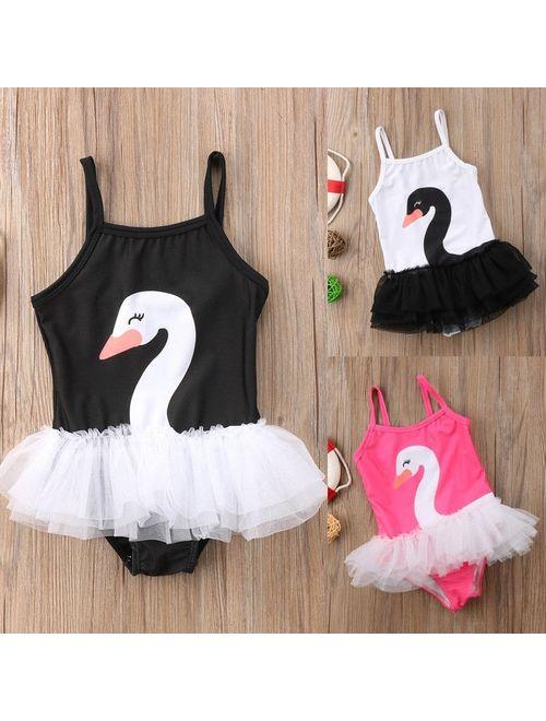 Toddler Baby Girl Swim Swan Swimwear Swimsuit Tulle Bathing Suit Beachwear