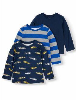 Garanimals Long Sleeve Solid, Print, & Striped T Shirts, 3pc Multi-Pack (Toddler Boys)