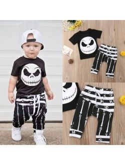 Toddler Kids Baby Boy Halloween T-shirt Tops+Leggings Pants Outfits Set Clothes