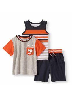 Healthtex Tank Top, Colorblock T-shirt & Knit Shorts, 3pc Outfit Set (Toddler Boys)