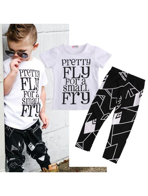 2-7T Kids Toddler Baby Boy Summer Clothing Set Short Sleeve Shirt+Pants Outfits