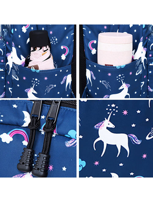 Unicorn Backpack, Coofit Lightweight 3PCS Nylon Cute School Backpack Travel Bag Bookbags Set with Lunch Bag & Pencil Case Daypack for Kids Teenage Girls Boys