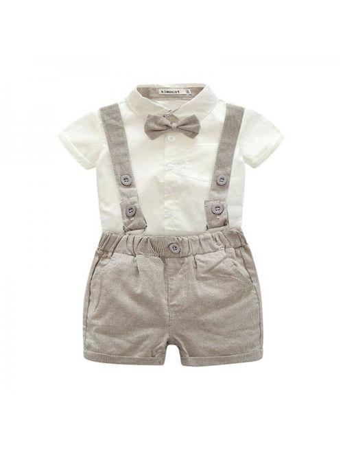 Newborn Toddler Baby Boy Gentleman Cotton T-shirt + Overalls Clothing Set