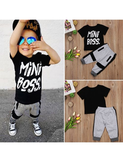 Casual Toddler Kids Baby Boy T-shirt Tops Pants 2Pcs Outfits Set Clothes 1-6T