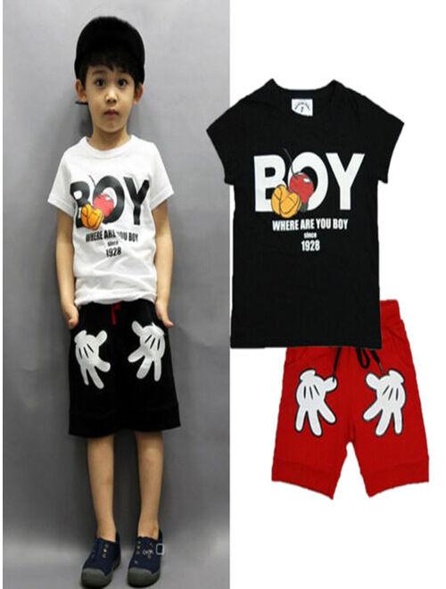 2PCS Toddler Boy Kids Summer Outfits T-shirt+Shorts Clothes Set 2-7Years
