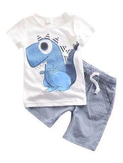 2PCS Baby Clothes Boys Kids Dinosaur T-shirt+Striped Shorts Casual Clothes Set