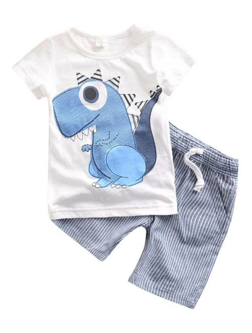 2PCS Baby Clothes Boys Kids Dinosaur T-shirt+Striped Shorts Casual Clothes Set