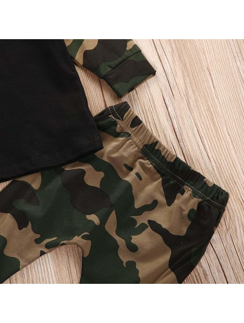 Baby Boys Long Sleeve Cotton T-shirt and Camouflage Pants Outfit