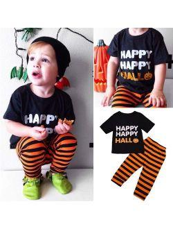 2PCS Toddler Baby Kids Boy Halloween Clothes T-shirt Tops+Long Pants Outfit Set
