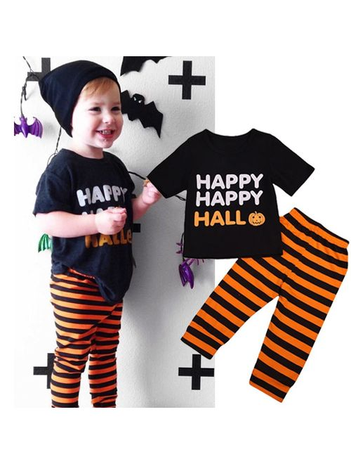 2PCS Toddler Baby Kids Boy Halloween Clothes T-shirt Tops+Long Pants Outfit Set