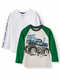 Long Sleeve Raglan Graphic T-shirt & Novelty Sleeve Taped Henley, 2-pack (little Boys & Big Boys)