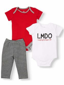 Graphic Bodysuits And Pant 3pc Outfit Sets (baby Boy)