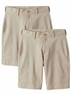 Boys School Uniform Super Soft Flat Front Shorts, 2-pack Value Bundle (little Boys & Big Boys)