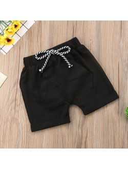 Baby Boy Toddle Little Boy Fashion Pocket Drawstring Cotton Terry Shorts