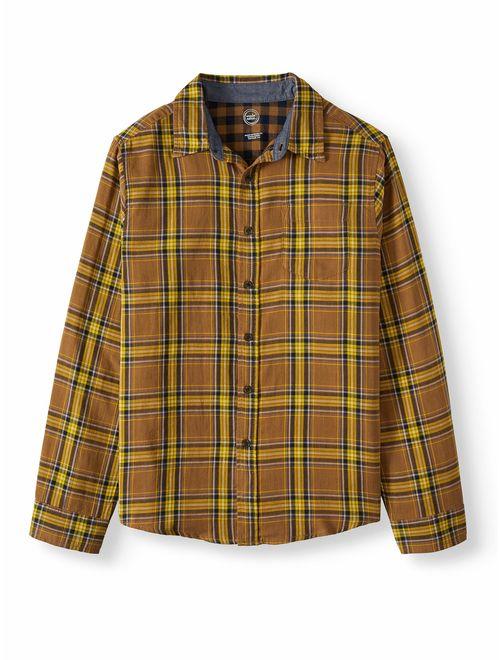 Wonder Nation Long Sleeve Double Weave Button-Up Shirt (Little Boys, Big Boys, & Husky)