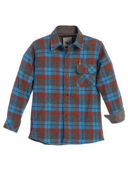 Big Boy's Single Pocket Flannel Shirt With Corduroy Contrast