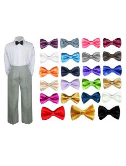 3PC Shirt Gray Pants Bow tie Set Baby Boy Toddler Kid Formal Suit Sm-7