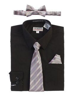 Boy's Long Sleeve Dress Shirt + Stripe Zippered Tie Set