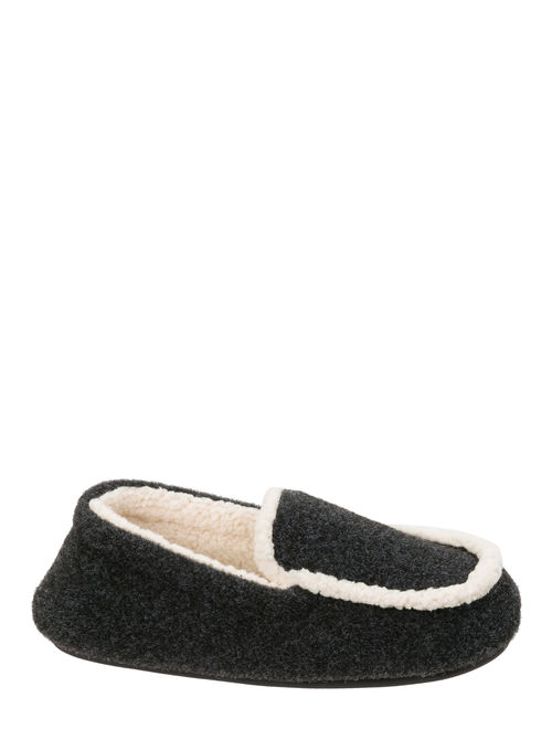 DF by Dearfoams Boys' Plaid Moc with Pile Lining Slippers