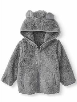 Baby Boy Furry Fleece Solid Hoodie